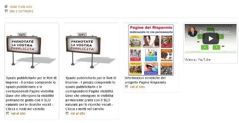 Box pubblicitari in Home Page