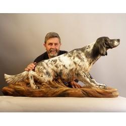 Scultura in legno, statua del proprio cane realizzata su misura da fotografia